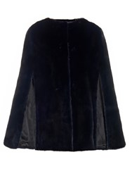 Lilly E Violetta Maria Mink Fur Cape Navy