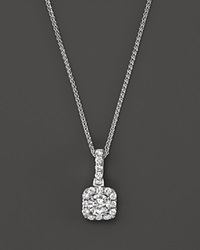 Bloomingdale's Diamond Halo Pendant Necklace In 14K White Gold .25 Ct. T.W.