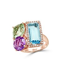 Effy Mosaic Diamond Semi Precious Multi Stone And 14K Rose Gold Ring