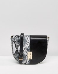 Liquorish Faux Snake Mix Cross Body Bag Black Snake Mix