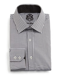 English Laundry Small Check Woven Dress Shirt Black