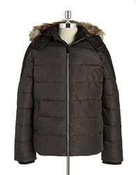 William Rast Faux Fur Trimmed Puffer Coat Cinder
