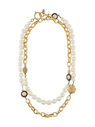Chanel Vintage Pearl Link Necklace White