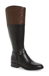 Cole Haan Women's 'Genevieve' Woven Cuff Riding Boot Black Brown Leather