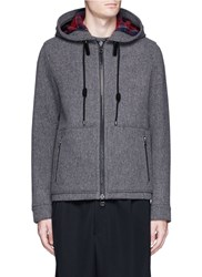Lanvin Wool Blend Hooded Herringbone Jacket Grey