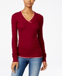 Energie Juniors' Molly V Neck Textured Sweater Boysenberry