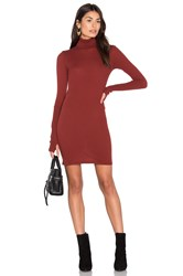 Enza Costa Cashmere Long Sleeve Turtleneck Dress Rust