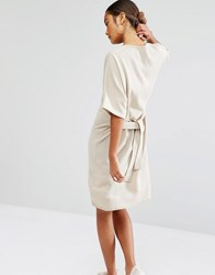 Daisy Street Tie Waist Knitted T Shirt Dress Nude Beige
