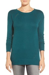 Petite Women's Caslon Pointelle Detail Button Back Tunic Sweater Teal Deep