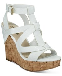 Guess Women's Harlea Wedge Sandals Women's Shoes White Snake