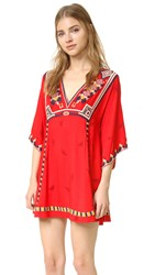Free People Embroidered Tulum Mini Dress Red Combo