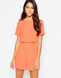 Oasis Lace Detail Playsuit Coral