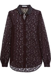 Carven Corded Lace Blouse Claret