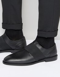 Zign Leather Elastic Strap Shoes Black