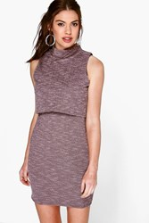 Boohoo Textured Layer High Neck Bodycon Dress Pale Pink