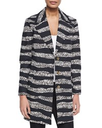 Michael Michael Kors Striped Long Overcoat Ecru