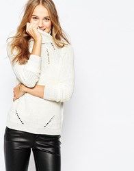 Vila Chunky Long Sleeve Roll Neck Jumper Cream