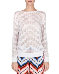 Kenzo Sheer Burnout Crewneck Sweater White Women's