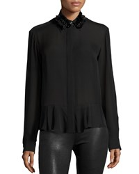 Mcq By Alexander Mcqueen Silk Embroidered Peplum Shirt Black