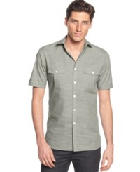 Alfani Black Warren Solid Short Sleeve Textured Shirt Raw Pebble