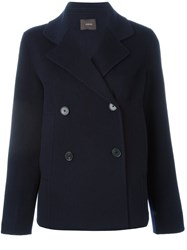 Odeeh Double Breasted Coat Blue