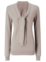 Jacques Vert Tie Neck Knit Jumper Neutral