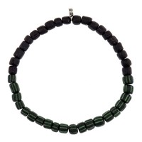 Men In Cities Two Tone Bead Bracelet Black And Black Green Striped