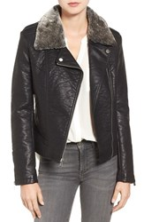 Rachel Roy Women's Faux Leather Jacket With Faux Fur Trim