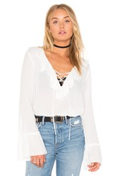 Band Of Gypsies Tie Neck Blouse Ivory