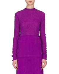 Victoria Beckham Textured Bubble Seersucker Long Sleeve Top Plum
