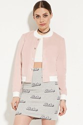 Forever 21 Faux Suede Bomber Jacket Pink Cream