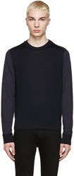 Maison Martin Margiela Navy And Brown Wool Colorblock Sweater