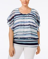 Styleandco. Style And Co. Plus Size Striped Chiffon Overlay Flutter Sleeve Blouse Only At Macy's Artsy Strp Mint