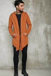 Forever 21 Raw Hooded Longline Cardigan Chestnut