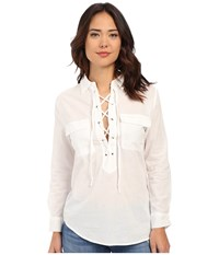 Brigitte Bailey Daraleigh Tie Front Top White Women's Long Sleeve Button Up