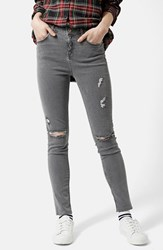 Women's Topshop Moto 'Jamie' Ripped Ankle Skinny Jeans Grey