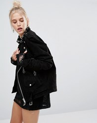 The Ragged Priest Piercing Detail Suede Biker Jacket Black