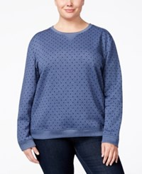 Karen Scott Plus Size Polka Dot Sweatshirt Only At Macy's Heather Intrepid Blue