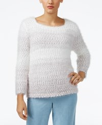 Alfred Dunner Petite Northern Lights Ombre Textured Sweater Silver