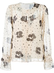 See By Chloe Floral Print Blouse Nude And Neutrals
