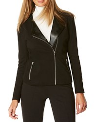 Rafaella Petite Leather Long Sleeve Moto Jacket Black
