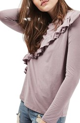 Topshop Women's Long Sleeve Ruffle Tee