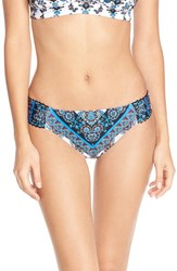 Women's Lucky Brand 'Bloom Village' Ruched Bikini Bottoms
