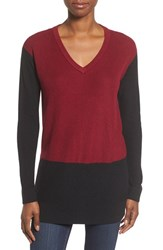 Vince Camuto Women's Colorblock Waffle Stitch V Neck Sweater Malbec Red