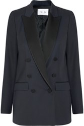 Pallas Satin Trimmed Grain De Poudre Wool Blazer Navy