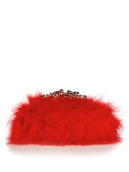 Alexander Mcqueen Crystal Embellished Feather Knuckle Clutch Red