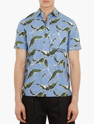 Valentino Blue Albatross Print Short Sleeved Shirt