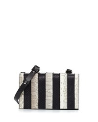 Cnc Costume National Striped Snakeskin Shoulder Bag Optic White Costume National