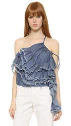 Marques Almeida One Shoulder Cotton Tie Top Mid Blue Chambray