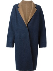Yves Saint Laurent Vintage Reversible Two Tone Coat Blue